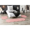 Andiamo Teppich Lambskin rosa 2x 55x80 cm + 1x 55x160 cm Bettumrandung