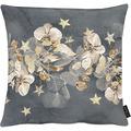 APELT Christmas Elegance Kissenhülle Blüten, Sternen und Zweigen anthrazit / gold 49x49 cm
