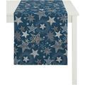 APELT Christmas Elegance Läufer blau/silber 48x140