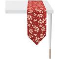 APELT Christmas Elegance Tischband Ilex- und Sternenmotiv rot / gold 24x175 cm