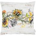 APELT Herbstzeit Kissenhülle Sonnenblumen und Hortensen natur / gelb / orange / grün / grau 49x49 cm