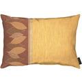 APELT Loft Style Kissen Bordüre mit grafischem Blattmotiv terracotta / orange / rostfarben 35x50 cm