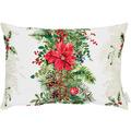 APELT Winterwelt Kissen Weihnachtsgirlandenmotiv natur / rot / grün 35x50 cm