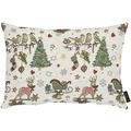 APELT Winterwelt Kissen Weihnachtsmotiv im angesagten Skandi-Style natur / rot / grün 30x40 cm