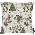 APELT Winterwelt Kissenhülle Weihnachtsmotiv im angesagten Skandi-Style natur / rot / grün 40x40 cm