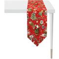 APELT Winterwelt Tischband Christmas-all-over weiß / multi 32x175 cm