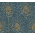 Architects Paper Vliestapete Absolutely Chic Tapete mit Pfauen Feder blau gelb metallic 369712 10,05 m x 0,53 m