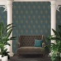 Architects Paper Vliestapete Absolutely Chic Tapete mit Pfauen Feder blau gelb metallic 10,05 m x 0,53 m