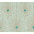 Architects Paper Vliestapete Absolutely Chic Tapete mit Pfauen Feder metallic blau grün 369713 10,05 m x 0,53 m