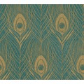 Architects Paper Vliestapete Absolutely Chic Tapete mit Pfauen Feder metallic grün braun 369714 10,05 m x 0,53 m