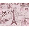 "AS Création Boys & Girls 4 Mustertapete ""Briefmarken"", Papiertapete, braun, rot, violett 10,05 m x 0,53 m"