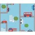 "AS Création Boys & Girls 4 Mustertapete ""Traffic"", Papiertapete, blau, bunt 10,05 m x 0,53 m"