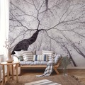 AS Création Fototapete Baumkrone 130 g Vlies grau hellgrau 3,36 m x 2,60 m