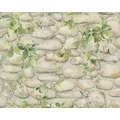 AS Création Mustertapete Dekora Natur, Papiertapete, perlweiß, ockergelb, laubgrün, farngrün 10,05 m x 0,53 m
