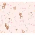 AS Création Papiertapete Boys & Girls 6 Tapete mit niedlichen Wald Tieren braun grün rosa 10,05 m x 0,53 m