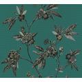 AS Création Vliestapete Asian Fusion Blumentapete asiatisch metallic grün schwarz 374722 10,05 m x 0,53 m