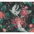 AS Création Vliestapete Asian Fusion Vogeltapete asiatisch schwarz rot grün 374643 10,05 m x 0,53 m