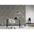 AS Création Vliestapete Authentic Walls 2 Tapete in 3D Optik geometrisch blau braun grau 10,05 m x 0,53 m