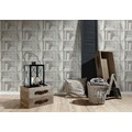 AS Création Vliestapete Authentic Walls 2 Tapete in Bücherregal Optik grau weiß 10,05 m x 0,53 m