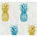 AS Création Vliestapete Club Tropicana Tapete Ananas weiß blau gelb 359972 10,05 m x 0,53 m