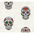 AS Création Vliestapete Club Tropicana Tapete Sugar Skulls bunt metallic weiß 358172 10,05 m x 0,53 m