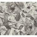 AS Création Vliestapete Greenery Tapete mit Blätter Motiv grau weiß schwarz 372163 10,05 m x 0,53 m