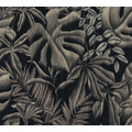 AS Création Vliestapete Greenery Tapete mit Palmenprint in Dschungel Optik grau schwarz 370332 10,05 m x 0,53 m