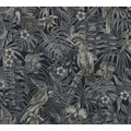AS Création Vliestapete Greenery schwarz grau creme 372104 10,05 m x 0,53 m