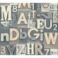 AS Création Vliestapete Il Decoro Tapete Buchstaben Puzzle braun creme grau 368712 10,05 m x 0,53 m