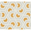 AS Création Vliestapete Linen Style Tapete geometrisch grafisch grau orange weiß 367602 10,05 m x 0,53 m