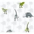 AS Création Vliestapete Little Stars Ökotapete PVC-frei grau grün weiß 358352 10,05 m x 0,53 m