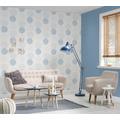 AS Création Vliestapete mit Glitter Blooming Tapete mit grafischen Blumen floral metallic blau grau 10,05 m x 0,53 m