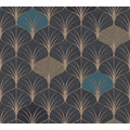 AS Création Vliestapete Pop Style Art Deco Tapete blau schwarz metallic 374833 10,05 m x 0,53 m