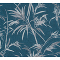 AS Création Vliestapete Sumatra Tapete mit Palmenblättern blau grau metallic 373766 10,05 m x 0,53 m