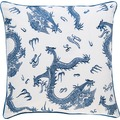 BARBARA Home Collection Kissenhülle Dragon blau - weiß 50 x 50 cm