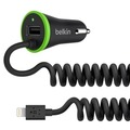 Belkin Dual Car Charger 2,4A (fixes Lightning Kabel), Schwarz