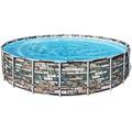 Bestway Power Steel™ Frame Pool Komplett-Set, rund, mit Filterpumpe, Sicherheitsleiter & Abdeckplane 610 x 132 cm