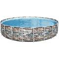 Bestway Power Steel™ Frame Pool Komplett-Set, rund, mit Filterpumpe, Sicherheitsleiter & Abdeckplane 671 x 132 cm