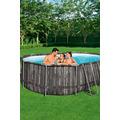 Bestway Power Steel™ Frame Pool Komplett-Set, oval, mit Filterpumpe, Sicherheitsleiter & Abdeckplane 488 x 305 x 107 cm