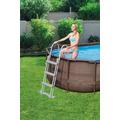 Bestway Power Steel™ Swim Vista Series™ Frame Pool Komplett-Set, oval, mit Filterpumpe, Sicherheitsleiter & Abdeckplane 427 x 250 x 100 cm