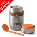 black+blum Food Flask MIT GRAVUR (z.B. Namen) 400ml Edelstahl Orange Maße: 8,5 x 8,5 x 16 cm