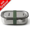 black+blum Lunch-Box groß MIT GRAVUR (z.B. Namen) 1000ml Edelstahl  Olive Grün Brotdose
