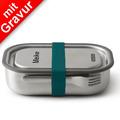 black+blum Lunch-Box groß MIT GRAVUR (z.B. Namen) 1000ml Edelstahl Ozean Blau Brotdose