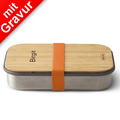 black+blum Sandwich-Box MIT GRAVUR (z.B. Namen) Edelstahl/Bambusholz Orange Brotdose Maße ca. 22,3 x 15 x 5,2 cm