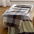 Biederlack Plaid / Decke Soft Impression Karo graubeige Fransen 130 x 170 cm