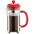 Bodum CAFFETTIERA Kaffeebereiter mit Kunststoffdeckel, 8 Tassen, 1.0 l, Edelstahl rot