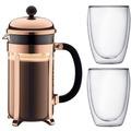 Bodum CHAMBORD SET Kaffeebereiter, 8 Tassen, 1.0 l und 2 doppelwandigen Gläser, 0.35 l kupfer