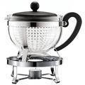 Bodum CHAMBORD SET Teekanne mit Stövchen, 1.0 l, mit schwarzem Plastikdeckel und Griff, Filter transparent