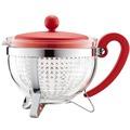 Bodum CHAMBORD Teekanne, 1.0 l, mit rotem Plastikdeckel und Griff, Filter transparent