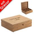 Bredemeijer Teebeutelbox MIT GRAVUR (z.B. Namen), 6 Fächer aus Bambusholz mit Deckel